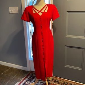 Gorgeous red dress with crisscross detail